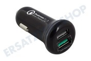 Ewent  EW1352 2 Port USB Autolader 5A mit Quick Charge 3.0 Autos und LKWs