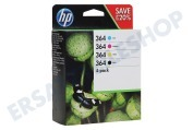 HP Hewlett-Packard 2509174 N9J73AE HP-Drucker Druckerpatrone Nr. 364 Combo 4-Packung BK/C/M/ Y Photosmart C5380, Smart C6380